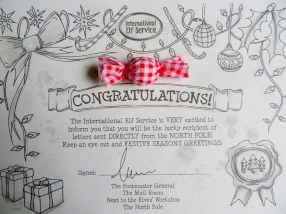 You get a personalized certificate from the Elf Postmaster