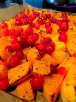 Butternut squash, feta and cranberry salad